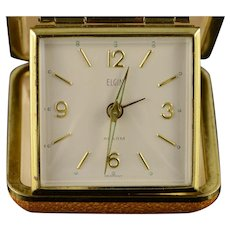 Gold Plated Vintage Elgin Travel Mechanical Alarm Clock    [QWQX]