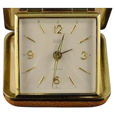 Gold Plated Vintage Elgin Travel Mechanical Alarm Clock    [QPQQ]