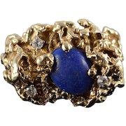 14K 1.10 CTW Lapis Diamond Nugget Ring Size 7.25 Yellow Gold [QWXC]