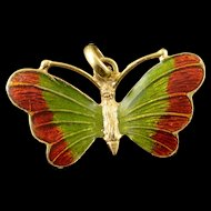18K Red Green Enamel Butterfly Charm/Pendant Yellow Gold  [QPQX]