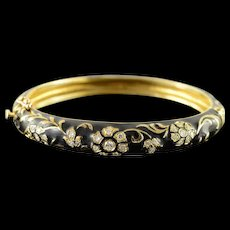 "14K Jack Gutschneider 0.75 CTW Diamond Black Enamel Vintage Bangle Hinged Bracelet 2.1"" Yellow Gold  [QWQX]"