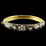 "14K Jack Gutschneider 0.75 CTW Diamond Black Enamel Vintage Bangle Hinged Bracelet 2.1"" Yellow Gold  [QPQX]"