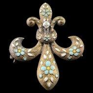 14K White Blue Fleur De Lis Enamel Victorian Watch Fob Hanger Pin/Brooch Yellow Gold  [QPQX]
