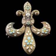 14K White Blue Fleur De Lis Enamel Victorian Watch Fob Hanger Pin/Brooch Yellow Gold  [QPQX]