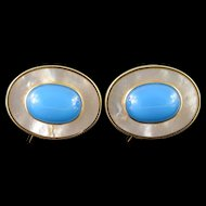 14K 30x24mm Mother of Pearl Turquoise Oval French Clip Design Earrings Yellow Gold  [QPQX]