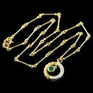 """18K 0.50 CTW Emerald Diamond Rope Knot Link Necklace 16.5"""" Yellow Gold  [QPQX]"""