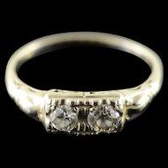 14K 0.40 CTW Round Diamond Two Stone Engagement Art Deco Ring Size 7.25 White Gold [QWQX]