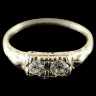 14K 0.40 CTW Round Diamond Two Stone Engagement Art Deco Ring Size 7.25 White Gold [QPQX]