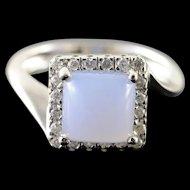 14K 1.60 CTW Agate Diamond Halo Ring Size 6.5 White Gold [QWQX]