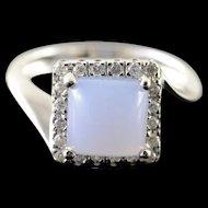 14K 1.60 CTW Agate Diamond Halo Ring Size 6.5 White Gold [QPQX]