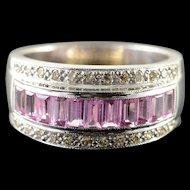 18K 1.25 CTW Pink Sapphire Diamond Channel Set Ring Size 6.5 White Gold [QWQX]
