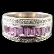 18K 1.25 CTW Pink Sapphire Diamond Channel Set Ring Size 6.5 White Gold [QPQX]