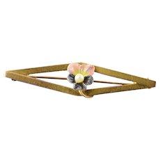 10K Art Nouveau Pink & Purple Enamel Seed Pearl Pin/Brooch Yellow Gold  [QWQX]