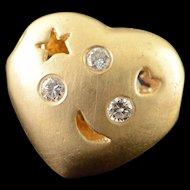 14K 0.06 CTW Diamond Star Heart Moon Puffy Slide Pendant Yellow Gold  [QWQX]