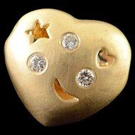 14K 0.06 CTW Diamond Star Heart Moon Puffy Slide Pendant Yellow Gold  [QPQX]