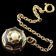 14K Victorian Black Enamel 3mm Seed Pearl Safety Clasp Slide Bracelet Charm/Pendant Yellow Gold  [QPQX]