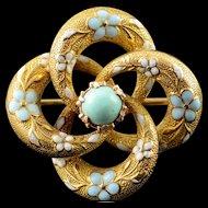 14K Victorian Pinwheel Blue White Enamel Turquoise Pin/Brooch Yellow Gold  [QPQX]