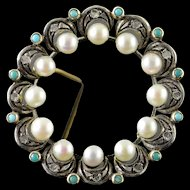10K Victorian Turquoise Diamond Pearl Circle Filigree Pendant Yellow Gold  [QWQX]
