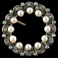 10K Victorian Turquoise Diamond Pearl Circle Filigree Pendant Yellow Gold  [QPQX]