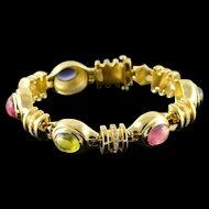 "18K Designer 11.00 CTW Gemstone Diamond Designer Tennis Bracelet 7"" Yellow Gold  [QPQX]"