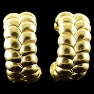 18K Heavy Designer Ribbed Hoop Cuff Clip On Earrings Yellow Gold  [QPQX]