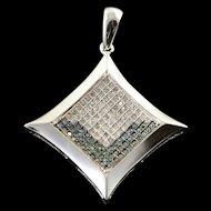 14K 0.25 CTW Blue White Diamond Princess Cut Pendant White Gold  [QPQX]