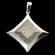 14K 0.25 CTW Blue White Diamond Princess Cut Pendant White Gold  [QPQX]