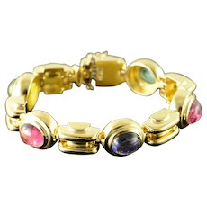 "18K Custom Heavy Cabochon Gem Stone Bracelet 7"" Yellow Gold  [QWQX]"