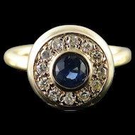 14K Retro 1.11 CTW Sapphire Diamond Halo Engagement Ring Size 7.75 Yellow Gold [QWQX]