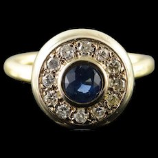 14K Retro 1.11 CTW Sapphire Diamond Halo Engagement Ring Size 7.75 Yellow Gold [QWQX]