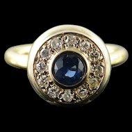 14K Retro 1.11 CTW Sapphire Diamond Halo Engagement Ring Size 7.75 Yellow Gold [QPQX]