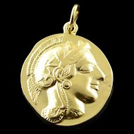 18K Greece Gladiator Tribute Coin Pendant Yellow Gold  [QWQX]
