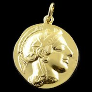 18K Greece Gladiator Tribute Coin Pendant Yellow Gold  [QPQX]