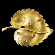 18K 0.25 CTW Ruby Diamond Inset Leaf Pin/Brooch Yellow Gold  [QPQX]