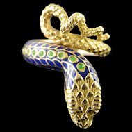 18K Detailed Green Blue Enamel Snake Head Wrapped Ring Size 6 Yellow Gold [QPQX]