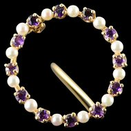 14K Seed Pearl Amethyst Circle Outline Pin/Brooch Yellow Gold  [QPQX]