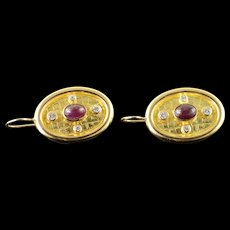 18K 2.25 CTW Ruby Diamond Custom Oval Hook EarRings Yellow Gold  [QWQX]