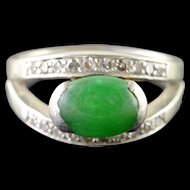 Platinum 1.88 CTW Apple Green Jade Diamond Ring Size 5  [QWQX]