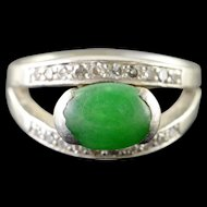 Platinum 1.88 CTW Apple Green Jade Diamond Ring Size 5  [QPQX]