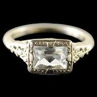 18K 1940's 1.00 CTW Aquamarine Filigree Engagement Ring Size 4 White Gold [QPQX]