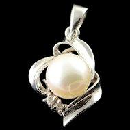 14K 7mm Pearl Diamond Swirl Pendant White Gold  [QWQX]