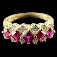 14K 1.85 CTW Created Ruby Diamond Tiered Ring Size 7 Yellow Gold [QPQX]