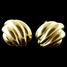 18K 1970's Van Cleef & Arpels Gold French Clip EarRings Yellow Gold  [QWQX]