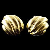 18K 1970's Van Cleef & Arpels Gold French Clip Earrings Yellow Gold  [QPQX]