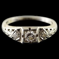 18K Art Deco 0.25 CTW Diamond 3 Stone Filigree Engagement Ring Size 5.75 White Gold [QPQX]