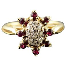 14K 0.30 CTW Diamond Ruby Cluster Halo Ring Size 3.25 Yellow Gold [QWQX]