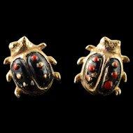 14K Enamel Ladybug Stud Earrings Yellow Gold  [QPQX]