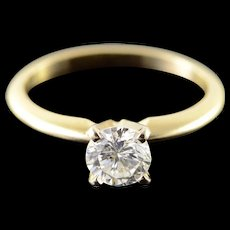 14K 0.74 CT Diamond Solitaire Engagement Ring Size 5.75 Yellow Gold [QWQX]