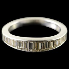 Platinum 1.50 CTW Diamond Baguette Wedding Band Ring Size 6.5  [QWQX]