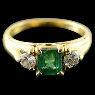 18K 1.10 CTW Emerald Diamond Engagement Ring Size 5.75 Yellow Gold [QWQX]